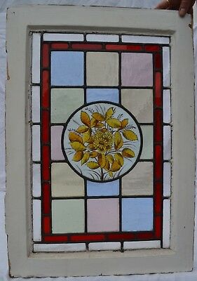 Victorian English handpainted stained glass window panel. R751e
