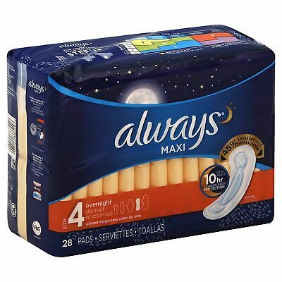 Always 6/28 Maxi Ovrnite No/W,Size 28CT,Pack of 3,by Always