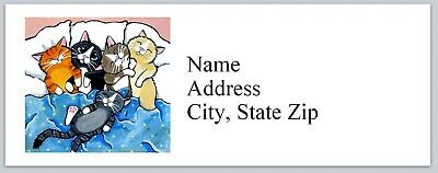 Personalized Address Labels Cats on the bed Buy 3 get 1 free (bx 783)