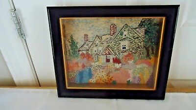 antique  embroidery needlework picture in shadow box frame cottage & garden