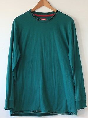 4a3be3c9db66 SUPREME RIB LOGO Long Sleeve T-Shirt Tee Large Teal Rare -  125.00 ...