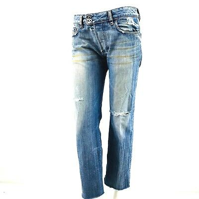 b2c34470 Diesel Jeans Womens Sz 30 Blue Destroyed Distressed Medium Wash Selvage  Cropped