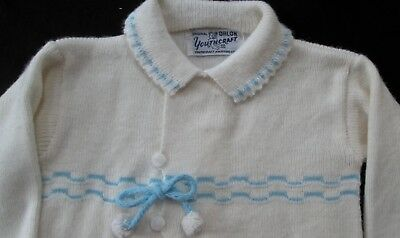 vintage 1950s baby sweater by Youthcraft sz 1? white Orlon blue trim, tassels