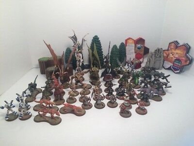 Huge Heroscape lot 118 pieces. Figures with cards, Trees, Tiles, Ruins, Glyphs