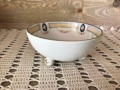 Nippon Handpainted Three Legged Dish Vintage