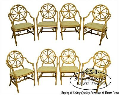 McGuire Style Set of 8 Vintage Rattan Bamboo Spider Back Dining Chairs