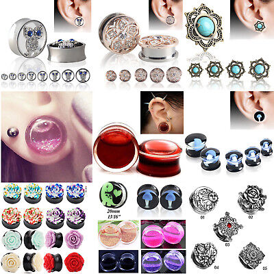 1pcs Silicone&Acrylic&Stone&Stainless Steel Ear Plug Tunnel Gauge Ear Stretching