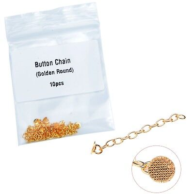 Dental Orthodontic Gold Plated Traction Button Chain Golden Round 10Pcs/Bag