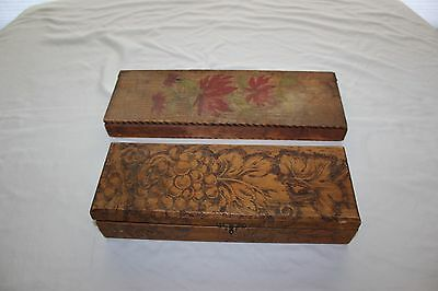 Antique Vintage Set 2 Flemish Art Pyrography Wood Box Grapes Flower Poinsettia