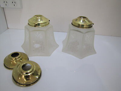 Pair Lovely Vintage Victorian Frosted Etched Ceiling Light Shades