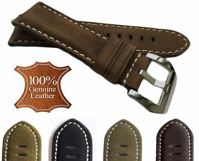 Vintage Style Distressed Matte Leather Mens Watch Band Strap with Stitching New