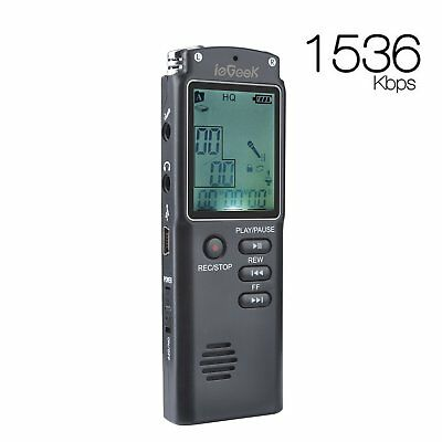ieGeek Rechargeable LCD Digital Audio Sound Voice Recorder Dictaphone MP3 Player