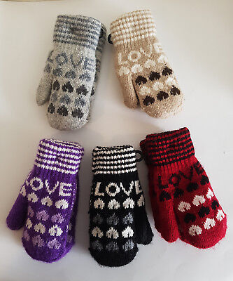 Kids Mittens Gloves ,Childrens,Toddlers ,Knitted Soft cosy & Warm,Black Grey