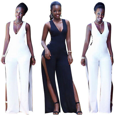 Sexy Women Sleeveless V Neck Hollow Out High Slit Pants Solid Jumpsuit Clubwear