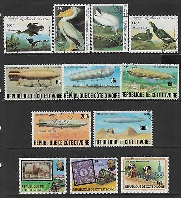 IVORY COAST mixed collection No.2, incl 1977 Zeppelin set