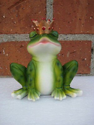 Charming Prince Frog Kissing Wearing a Crown Figurine