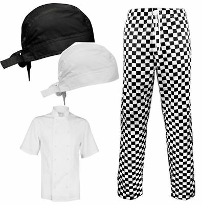 Unisex Chef Bandana Short Sleeve Jacket And Check Trouser Cooking Dress Supplies
