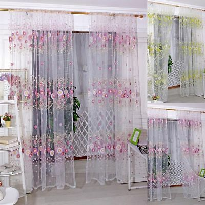 Window Tulle Scarf Sheer Living Room 1*2 M Pattern Sunflower Voile Curtains