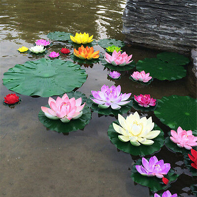 5PCS Artificial Lotus Water Lily Floating Flower Pond Tank Plant Ornament 10cm
