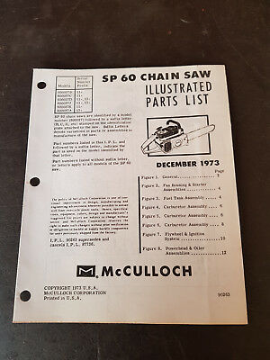 McCulloch SP60 Chainsaw Illustrated Parts List 1973