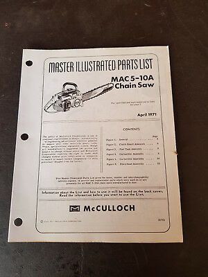 McCulloch Mac5-10A Chainsaw Illustrated Parts List 1971