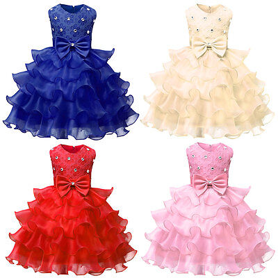 Baby Flower Girl Birthday Dress Wedding Bridesmaid Princess Evening Dress Childs