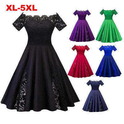 Women Lace Off Shoulder Vintage Swing Dress Retro 50S Rockabilly Party Dresses