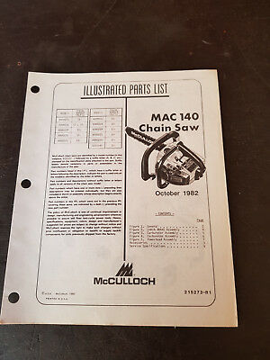 McCulloch Mac140 Illustrated Parts List 1982