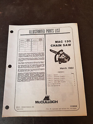 McCulloch Mac130 Illustrated Parts List 1982