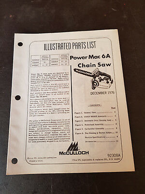McCulloch Power Mac 6A Illustrated Parts List 1976