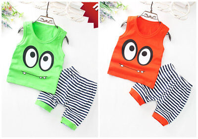 baby Boys clothes cotton summer Tank + short pants  daily kids outfits big eyes