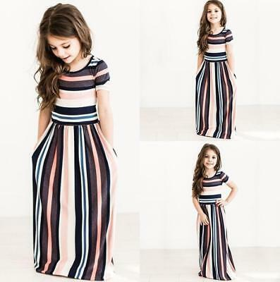 Baby Girls Summer Stripe Long Dresses Casual Beachwear Princess Pageant Clothes
