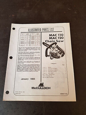 McCulloch Mac 110-120 Chainsaw Illustrated Parts List 1983