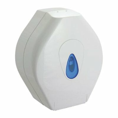Professional White Mini Jumbo Toilet Roll Dispenser - Comes With TCH Anti-Bacter