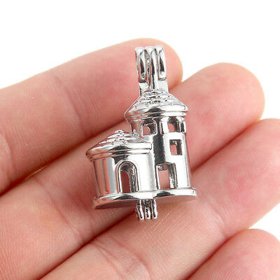10X-K665 Home Castle Pearl Beads Cage Pendant Diffuser Locket