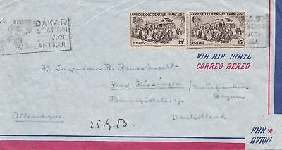 French colonies: Senegal: 1953: air mail from Dakar to Bad Kissingen