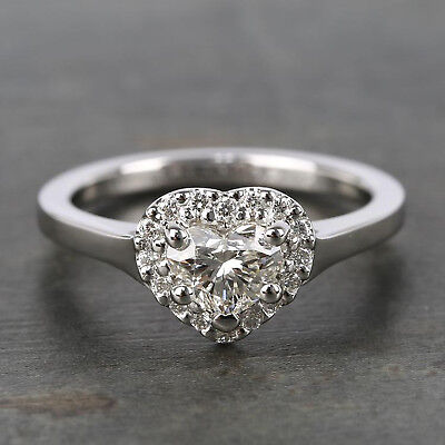 1.00 Ct Heart Shape Diamond Halo Engagement Ring Solid 10K White Gold