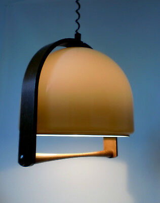 """70s """"Temde"""" Bugholz Leuchte Acryl rise & fall lamp bent wood Lampe annees 70"""