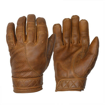 Goldtop Fleece Lined Waxed Brown Leather Short Bobber Motorcycle Gloves