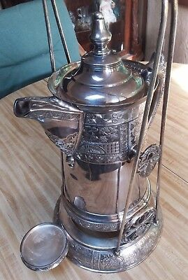 Fancy Victorian Silver Plate Tilting Water Pitcher Aesthetic Repousse Birds Old