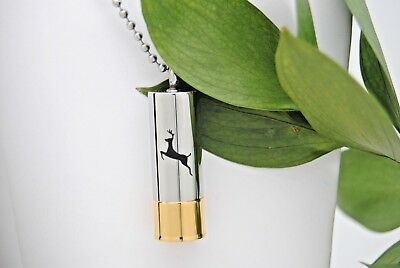 Two Tone Shotgun Shell Cremation Urn Necklace || Ashes Holder Necklace for Men