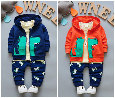 3PCS toddler kids baby boys girls outfits jacket & Tee & pants dinosaurs sets