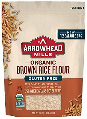 Arrowhead Mills Organic Gluten-Free Brown Rice Flour 24 oz. Pack of 6 Grains