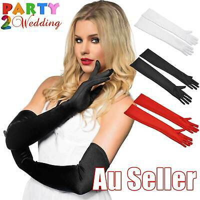 52cm Long Satin Costume Bridal Evening Party Prom Wedding Womens Ladies Gloves