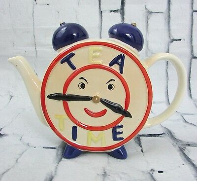 Vintage 1960's (?) Tea Time Clock Face Teapot Hand Painted 16 oz