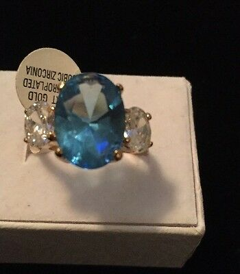 Stunning Vintage Estate Ring Size 7 14 K Gold Plated Cubic Zirconia