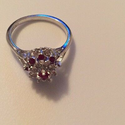 Stunning Vintage Estate Ring Size 8.5 White Gold Plated