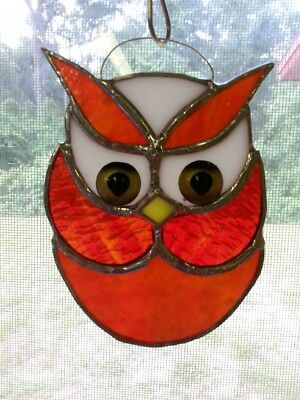 OWL RED COLOR STAINED GLASS New Sun Catcher 5 x 5W in