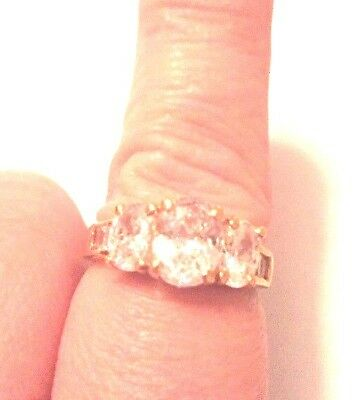 Stunning Vintage Estate Jewelry Ring Size 9 Gold Plated C Z