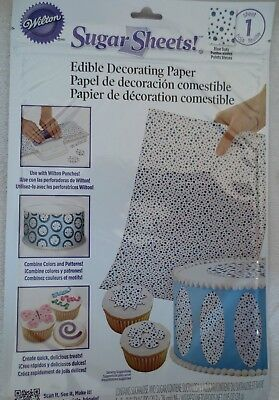Wilton Icing  Sugar Sheet Blue Dots Design For Cake & Cupcakes Decoration New